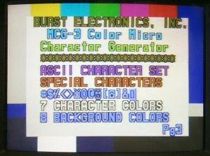 MCG-3 Character Generator